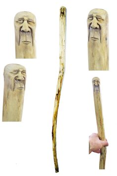 Walking Stick Hiking Staff Wood Carving Hand by JoshCarteArt