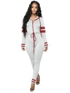 66f9a04e03c JurllyShe Contrast Color Zip Up Hoodie Jumpsuit Cheap Plus Size Lingerie