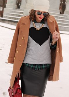 Love this outfit. Hearts, plaid, leather, wool, sunnies, hat, (red leather purse).