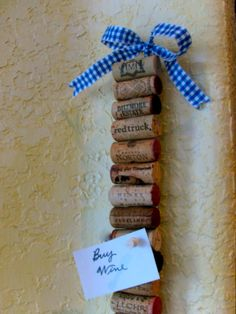 Wine Cork Memo Strip - this looks super easy -- use the stir stick from when we paint.
