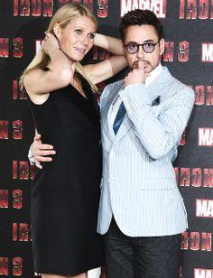 "Gwyneth Paltrow and Robert Downey Jr., ""Iron Man 3"" photocall in London."