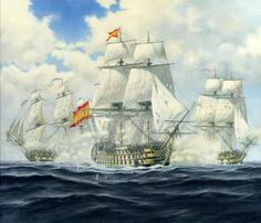 El San Juan de Nepomuceno. Carlos Parrilla Penagos - Pintura naval Sailboat Art, Nautical Art, Ship Map, Spanish Galleon, Ship Of The Line, Naval History, Wooden Ship, Tug Boats, Navy Ships