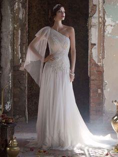 Get inspired: Gorgeous goddess #wedding dress! Galina Signature Style SWG579 from David's Bridal.