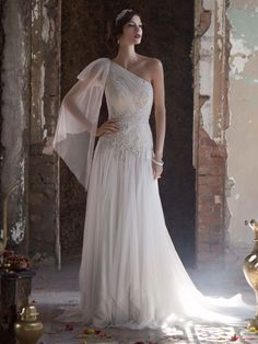 Get inspired: Gorgeous goddess #wedding dress! Galina Signature Style SWG579 from David's Bridal.