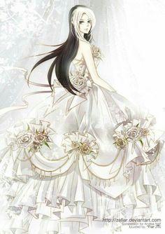 Tags Anime Wedding Dress Veil Tiara Pixiv Id 1053810 Anime - Anime Wedding Dress