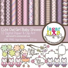Cute Owl Girl Baby Shower Digital Paper and Clip by LagartixaShop, $4.00