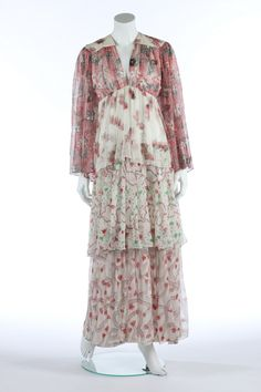 An Ossie Clark/Celia Birtwell printed chiffon dress, early Quorum labelled with lightly padded shoulders, the skirt falling in contrasting-printed chiffon tiers. Biba Fashion, 60s And 70s Fashion, Seventies Fashion, Retro Fashion, Vintage Fashion, Celia Birtwell, Ossie Clark, Cut Clothes, 1970s Dresses