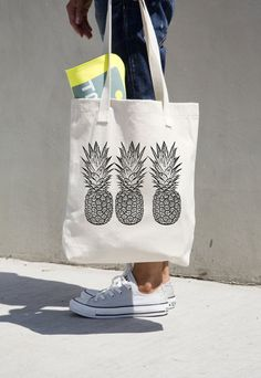 Pineapple Tote Bag Market Grocery Pineapples Aloha Hawaii Book Bag Cotton Canvas Black and White American Apparel Brand Summer