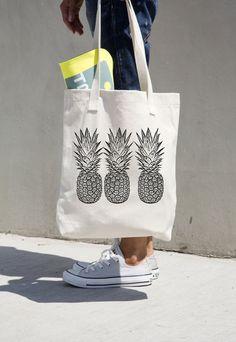 Ananas cabas marché fourre-tout sac de plage épicerie ananas Aloha Hawaii livre sac de toile de coton noir et blanc Graphic Design Fruit