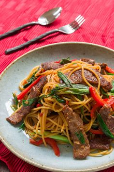 Mongolian Beef Pasta recipe from PBS Food.