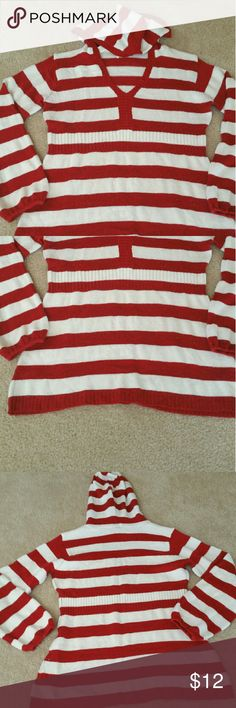 Large gorgeous red/white stripped sweater Gorgeous red/white stripped sweater with hoody! Very soft and comfortable! Look great with jeans! Sweaters Cardigans