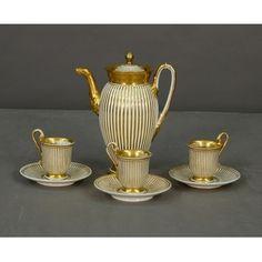 Sada na kávu * bílý porcelán zdobený zlatem.