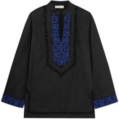 Tory Burch Filipa embellished cotton-poplin tunic ($420) ❤ liked on Polyvore featuring tops, tunics, black, cut loose tops, loose fit tops, loose tops, loose fitting tops and embroidered tunic