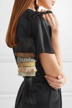 Sanayi313 - Cascata Fringed Satin Clutch - Black - one size