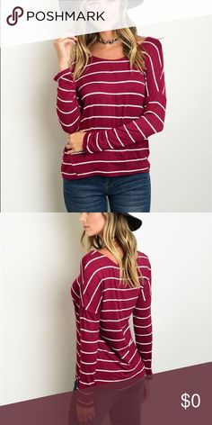 """🌟🆕🌟Burgundy Striped Top Cute & comfy! Perfect for Fall! 95/5 Rayon/Spandex. Full sleeves, scoop neck, dolman fit, & loose, relaxed fit. Measurements: L: 23"""" B: 36"""" W: 34"""" taken from small. Machine wash cold, hang to dry. Tops Tees - Long Sleeve"""