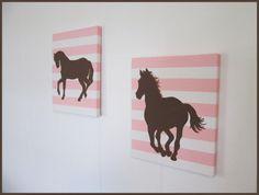 Horses on Pink Stripes Handpainted 8 x 10 Paintings by WallBlings, $35.00