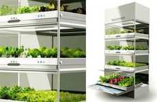 i wish they were cheaper i would love to have fresh vegggies and strawberrys all year long.The Urban Cultivator is an enclosed hydroponic system designed to make it easier for those living in inclement weather to grow their own veggies and herbs year-round. The Urban Cultivator is about the size of a dishwasher and is self-controlled requiring only a dose of organic fertilizer once a week and a water hookup.