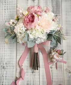 Popular Dusty Rose Wedding Ideas ★ dusty rose wedding silk bouquet with ribbons lesfavoris_wedding Wedding Chair Decorations, Wedding Chairs, Wedding Centerpieces, Dusty Rose Wedding, Floral Wedding, Chic Wedding, Dream Wedding, Wedding Blue, Wedding Reception