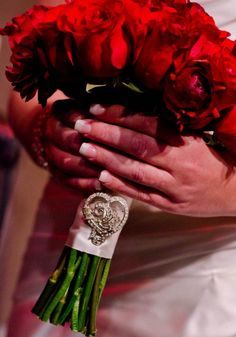 Wedding Bouquet- Red roses and ranunculus
