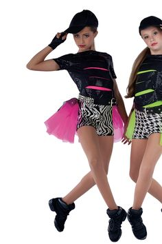 15314 Cars With The Boom | Tap Jazz Funk Hip Hop Dance Costumes | Dansco 2015 | Black sequined spandex top with cutouts. Separate color spandex top and foil printed spandex shorts. Glitter printed black mesh and color chiffon bustle. Headpiece, gloves and belt included.