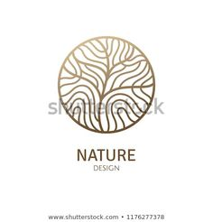 Vector emblem wavy structure of plant. Ornamental minimal badge for design of natural products, flower shop, cosmetics and ecology concepts, health, spa and yoga Center. Plant Logos, Wood Logo, Cafe Logo, Tree Logos, Spa Design, Logo Design Inspiration, Branding, Creations, Pattern