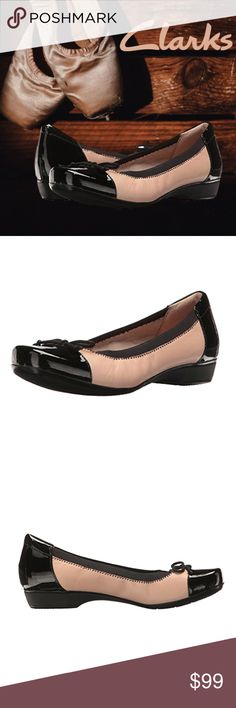 "Clarks Womens Blanche Nora Ballet Flat Slipon Shoe ✔Inspired by classic ballet slippers, these Blanche Nora Ballet Flat Shoes from the Clarks collection are updated with a contemporary bottom. This women's slip-on shoe is easy to wear with dresses, work separates or casual clothes. ✔Features: heel height approximately 1"", Soft, comfortable cushion, Ortholite footbed . ✔Material: leather, soft fabric lining, rubber outsole ✔Size: 8.5 Medium  ✔Color: Nude Leather, Black/Light Beige/Pink ✔Brand…"