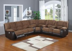 JAGGER Bring together friends and loved ones in comfort with the Jagger sectional. A corner wedge joins together a sofa and loveseat upholstered in tan fabric nestled against a mocha leatherette. Each piece features plush cushioning and overstuffed armrests, and the loveseat includes a storage console with cupholders. Last but certainly not least, both the sofa and loveseat includes power reclining seats so comfortable guests won't want to leave!