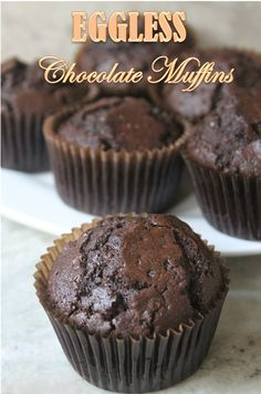 I love baking muffins, not only they are delicious. But they are a breeze to make. You just measure few ingredients and dump them into. Eggless Chocolate Muffins Recipe, Eggless Desserts, Eggless Recipes, Eggless Baking, No Bake Desserts, Easy Desserts, Baking Recipes, Eggless Muffins, Easy Recipes