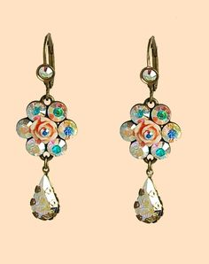 Michal Negrin stunning ladies hook earrings made from brass and nickel free, central hand painted rose detail flower element surrounded by beautiful Swarovski crystals and glass beads, A tear drop shaped Swarovski crystal hangs from the central flower, photos do no justice and are truly stunning when you see them with your own eyes. The Hook earring is closed at the back and comes with a life time guarantee from Michal Negrin.