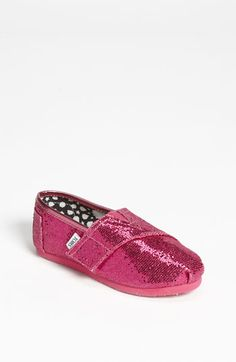 TOMS 'Classic Tiny - Glitter' Slip-On (Baby, Walker & Toddler) available at #Nordstrom light pink in size 8 or 9 - for E :)
