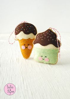 PDF Pattern Ice Cream Cone Kawaii Felt Ornament by sosaecaetano