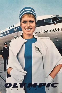 Olympic Airlines Stewardess Uniform by Pierre Cardin, Pierre Cardin was the go-to man, when it came to fabulous futuristic designs for airlines of the Jet Olympic Airlines, European Airlines, Flight Girls, Airline Uniforms, French Fashion Designers, Flight Attendant, Pierre Cardin, Olympics, Supermodels