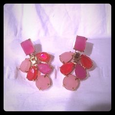 Kate Spade Boardwalk Stroll Chandelier Earrings New. Never worn. I received these as a birthday gift and took them out of the bag and off the holder but never wore them. Too big for my liking. Pretty shades of pink with gold lining. Pictures with holder used to show authenticity.       Post backing. kate spade Jewelry Earrings