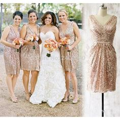 Find More Bridesmaid Dresses Information about Champagne Sequined Knee Length Bridesmaid Dresses 2016 Real Photos V Neck Sleeveless Short Country Maid Of Honor Dress ,High Quality dress party dress,China dresses leopard Suppliers, Cheap dress bodysuit from CDDRESSES Store on Aliexpress.com