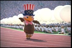 Sam the Olympic Eagle is the mascot of the Los Angeles 1984 Summer Olympics. He is a bald eagle, which is the national bird of the United States, where the games were held. Sam also shares the name of Uncle Sam, another American symbol.