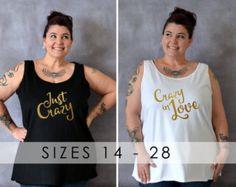 Crazy In Love / Just Crazy Plus Size Tank, Bachelorette Party Shirts, Plus Size Bridesmaid Shirt, Bride Tank, Plus Size Shirt, Bride Tribe
