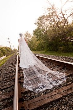 Cathedral veil dragging on a train track... yes this is what I chose to do for my bridals! Call me crazy!