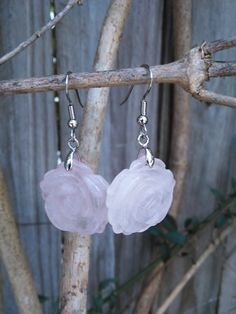Rose Quartz Rose Earrings  Free Shipping  love by FeathersandStars