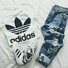 adidas, outfit, and jeans resmi