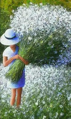 Beautiful Drawings, Beautiful Artwork, Beautiful Flowers, Foto Fantasy, Fantasy Art, Painting People, Jolie Photo, Flower Pictures, Whimsical Art