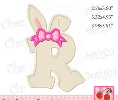 Bunny Ears Monogram Letter V Easter Machine Embroidery Applique