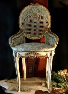 Vintage Louis XVI Medallion Back Cane Chair