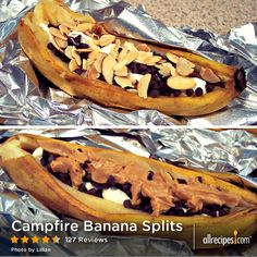 "Campfire Banana Splits | ""Mmmmmmm! We just got back from a camping trip and we have fallen in love with this recipe. It's delicious!"" - Idealnut"