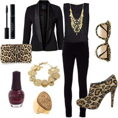 Black and leopard. Sexy date night outfit.