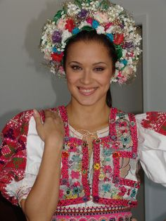 "Slovak wedding folk costume with ""parta""(bridal head outfit or cover) Ethnic Fashion, Colorful Fashion, Bratislava, Folk Costume, Costumes, Folk Dance, Ethnic Dress, Bohemian Gypsy, Historical Clothing"