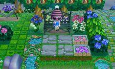 Animal Crossing QR Code blog Mossy grey brick path w/ grass & sm. flower border  & Stepping stones REF. PIC.2 <--