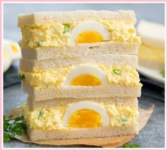 Japanese Egg Salad Sandwiches Soft and fluffy Japanese egg sandwiches, also called Tamago Sando. These sandwiches are incredibly popular in Japan and are sold in stores like Lawson and FamilyMart. But they can be easily made at home! Japanese Egg Salad Sandwich Recipe, Japanese Sandwich, Egg Salad Sandwiches, Wrap Sandwiches, Sandwich Recipes, Japanese Salad, Steak Sandwiches, Japanese Food, Salad Recipes