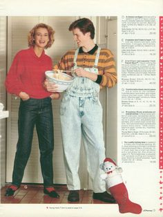 Acid-wash overalls. I can't even. | The 22 Most Embarrassing Pages Of The 1990 J.C. Penney Christmas Catalog