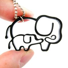 Simple Elephant Mother and Baby Animal Charm Outline Necklace in Black from DOTOLY