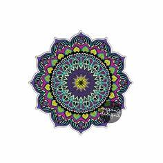 Earthy Mandala Sticker - Colorful Car Decal Vinyl Bumper Sticker Religious Symbol Yoga Car Decal Yantra Cosmos Universe Purple Blue Wall Art